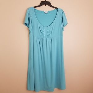 London Times Woman dress empire teal blue 14W